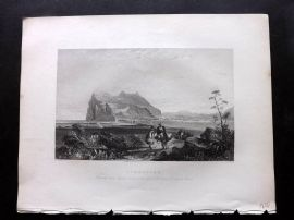 Wright 1840 Antique Print. Gibraltar from the lower Signal Tower. The Rock.